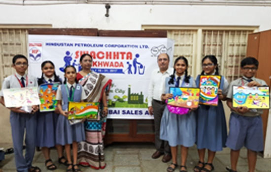 Winners of the Drawing Competition organised by Hindustan Petroleum Corporation Ltd. on account of 'Swachhta Pakhwada'
